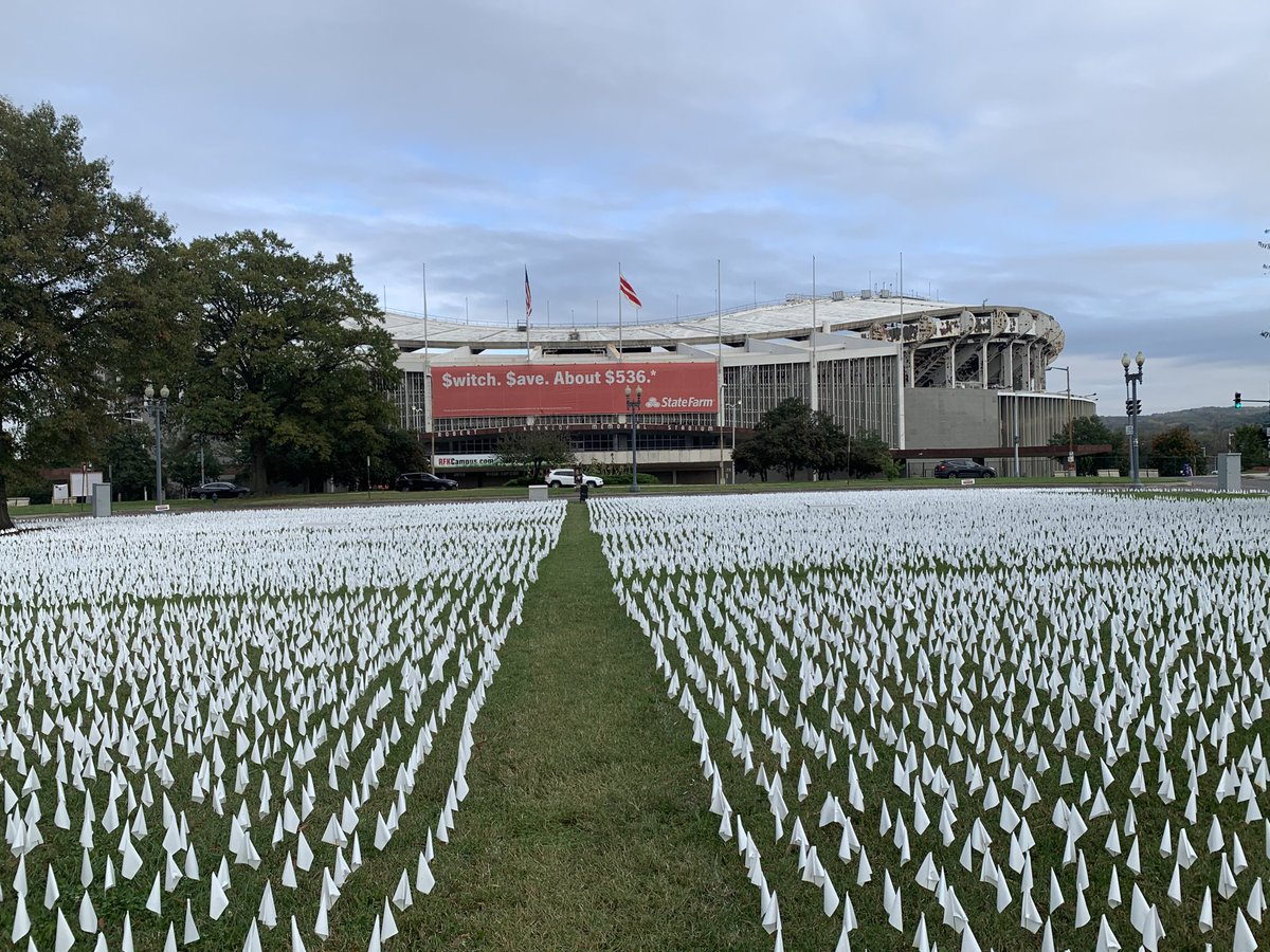 In front of RFK stadium in Washington DC, a memorial to Americans who have died from COVID-19. It goes and goes and goes. https://t.co/fV7VvAVJEO