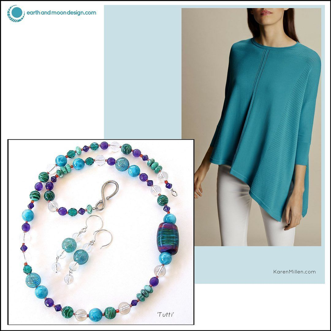 """Enliven your look with this sassy set featuring gemstones & art glass in a rainbow of colors. Full length is 27"""".https://t.co/OIXFCQJ7iV #freeusship #gemstonenecklace #artglass #wearableart https://t.co/tJCqr5iQlh"""