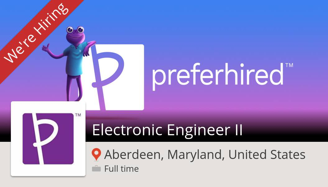 #Electronic #Engineer II (#job) wanted in #Aberdeen. #Preferhired https://t.co/HlGeKzPc3U #referafriend #gigrecruiting #referandearn #jobs #hiring #referrals https://t.co/49I2mARB4H