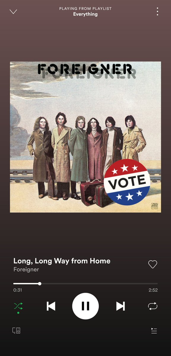 @Spotify @ForeignerMusic #vote #NationalVoterRegistrationDay  Not sure if this was #Spotify or #foreigner doing.
