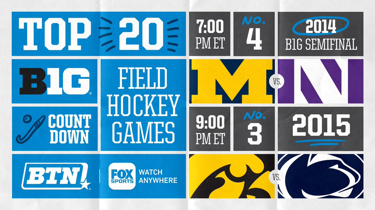 The third and fourth best field hockey games in the history of the B1G Network air tonight. 🥉🏅  7 PM ET ➡️ @umichfldhockey vs. @NUFHCats ('14 B1G Semifinal)  9 PM ET ➡️ @iowafieldhockey vs. @PennStateFH ('15) https://t.co/g7C7TCi9Wl