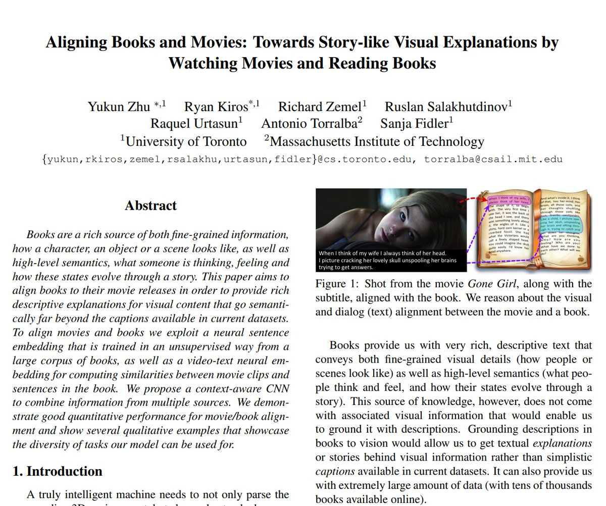 "[#FridayWiMLDSPaper 📜 curated by @lrnt_chloe]  🎬 ""Aligning Books and Movies: Towards Story-like Visual Explanations by Watching Movies and Reading Books"" by Yukun Zhu, @RaquelUrtasun, @FidlerSanja and all   🔗   #WiMLDS #WiMLDSParis"