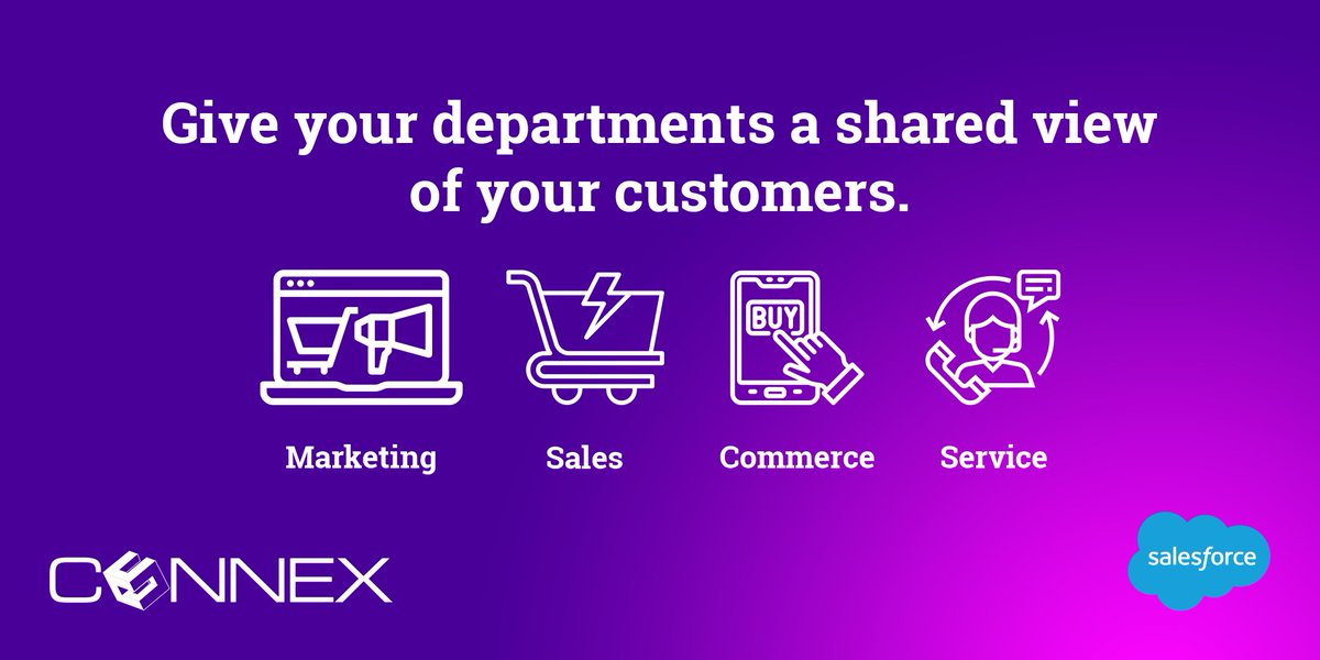 Give all your departments including #marketing, #sales, #commerce, and #service a shared view of your #customers with the @salesforce integrated #CRM platform.   #salesforce #connexsalesforce #implementation #salesforcetraining #salesforcesupport #cx #customerinsight #cctr https://t.co/qdZo2hoj5K