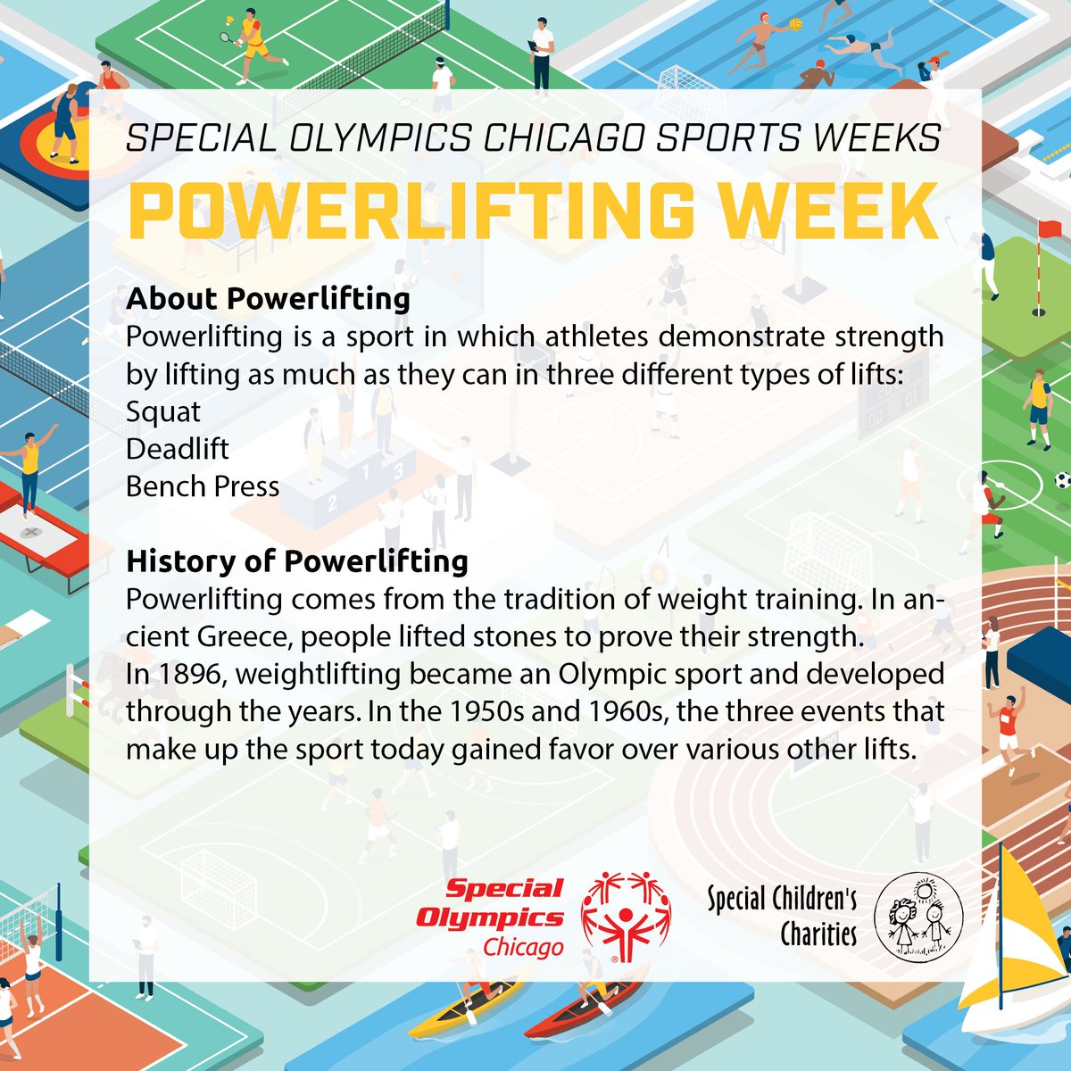 Powerlifting is a sport in which athletes demonstrate strength by lifting as much as they can in three different types of lifts: Squat, Deadlift, and Bench Press. Powerliftingis a very popular sport among SOC athletes,and all three events are included in our competitions. https://t.co/ljiqU5U0C4