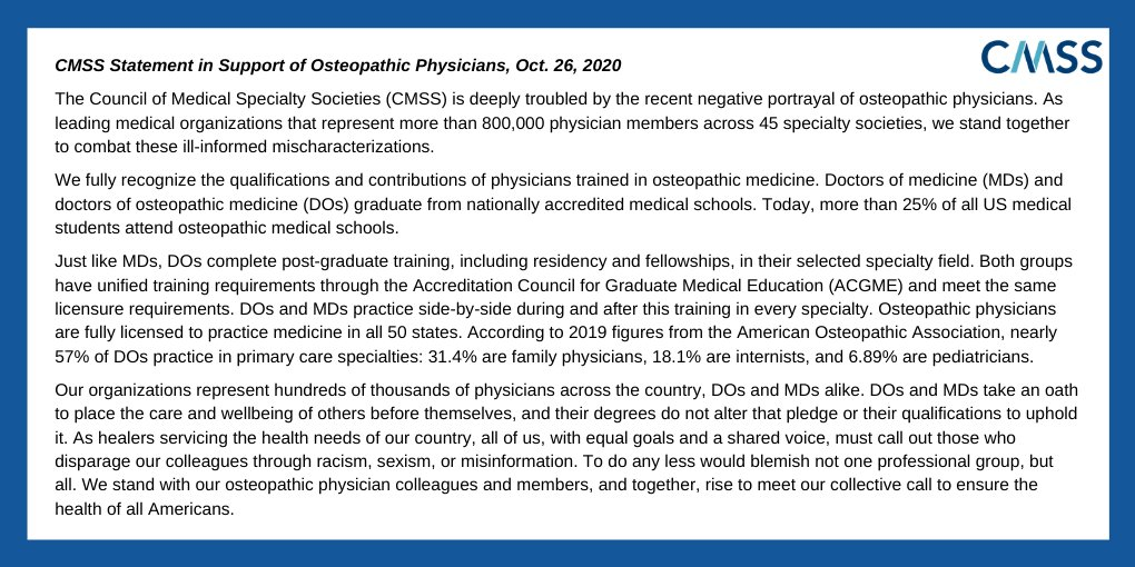 .@CMSSmed and 33 specialty societies stand with our osteopathic physician colleagues and members. DOs & MDs have equivalent training & licensure requirements.   Now more than ever, the medical community must stand as one https://t.co/MZ4l2gW1aZ https://t.co/BLagzmZfg8