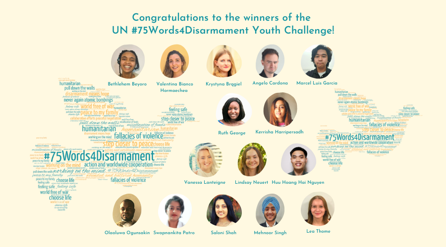 Congratulations to the winners of the #Youth4Disarmament initiative's UN #75Words4Disarmament Youth Challenge, announced today by HR @INakamitsu during a congratulatory event to mark #DisarmamentWeek. See all winning entries 👉https://t.co/KwnclwqiS2. Hear the 1st prize winners👇 https://t.co/eVM1Vcmlxn