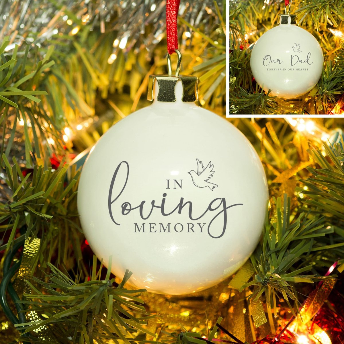 In #Loving #Memory #Personalised #Bauble   The special life of your love one can always be #treasured at #Christmas with this #memorialbauble.  View all our #Memorial #ChristmasBaubles on our website. ⁠ https://t.co/7fF2dsRb8T  https://t.co/PpV8P8doYc