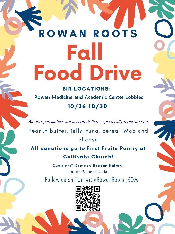 We're proud to host our first Rowan Roots Food Drive! Details in flyer #plantmedtwitter #community #service https://t.co/f00nTfX99O