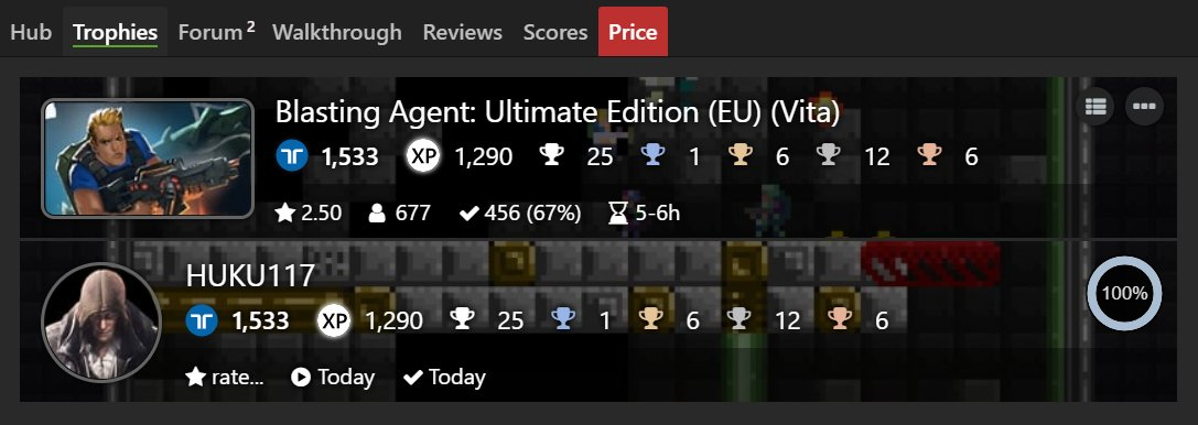 Blasting Agent: Ultimate Edition [EU] (PS Vita) Platinum#176 and 100% Complete  #TrophyHunter #PlatinumTrophy #PlayStation #PSVita #BlastingAgent #RatalaikaGames #AxolStudio https://t.co/HyQkFsqoF4