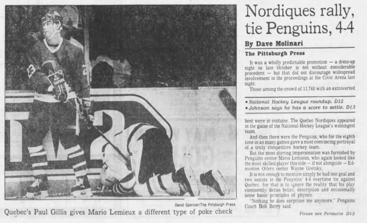 35 years ago (10/26/85): #Nordiques rally for 4-4 tie with #Penguins. #LetsGoPens https://t.co/KqZgYIxb4v