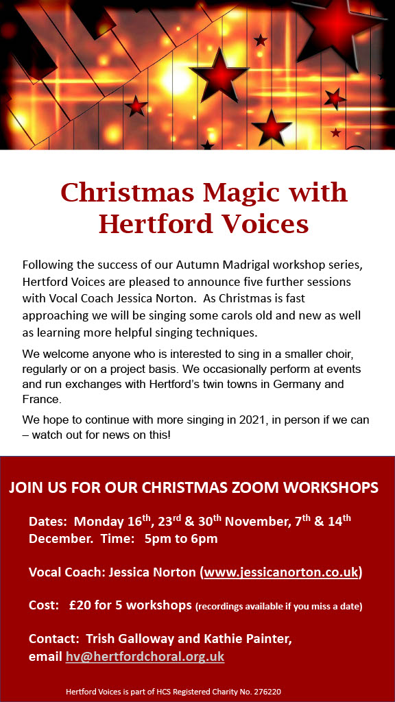 A further #singing #choir opportunity with #HertfordVoices in the run-up to #Christmas with voice coach @JessicaCNorton...we would love you to join us; all details in attached. https://t.co/sGVgv2iWEH