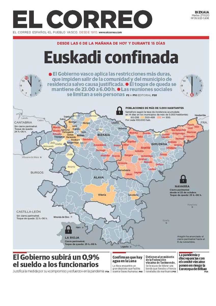 ‼️ 📰 UNA PORTADA POR TODAS   #Euskadi confinada   Y en la #UE hay medidas hasta más rigurosas. https://t.co/a3o5dOcRMj