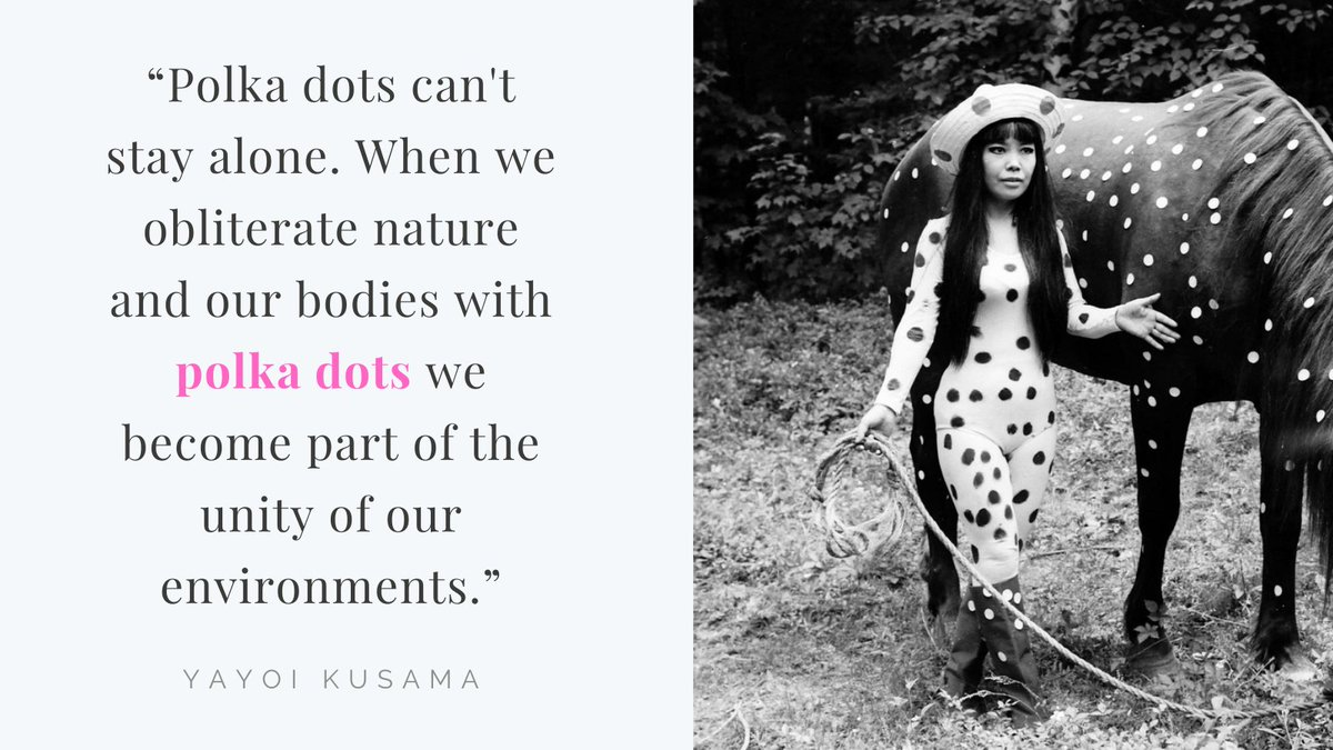 #FridayFeeling: did you know that prolific #Japanese  #ContemporaryArtist #YayoiKusama rose to prominence in the late 1960s when she organized a performance art series in which naked participants were painted with brightly colored polka dots? https://t.co/avbLl7kHCT