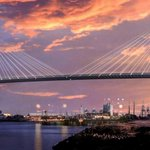 Image for the Tweet beginning: The second-tallest cable-stayed bridge in