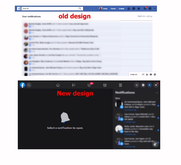 @Facebook  can we have the old style notification back please - or at least put the notification on the left hand side and open it on the right ? #Facebook #facebookdesign