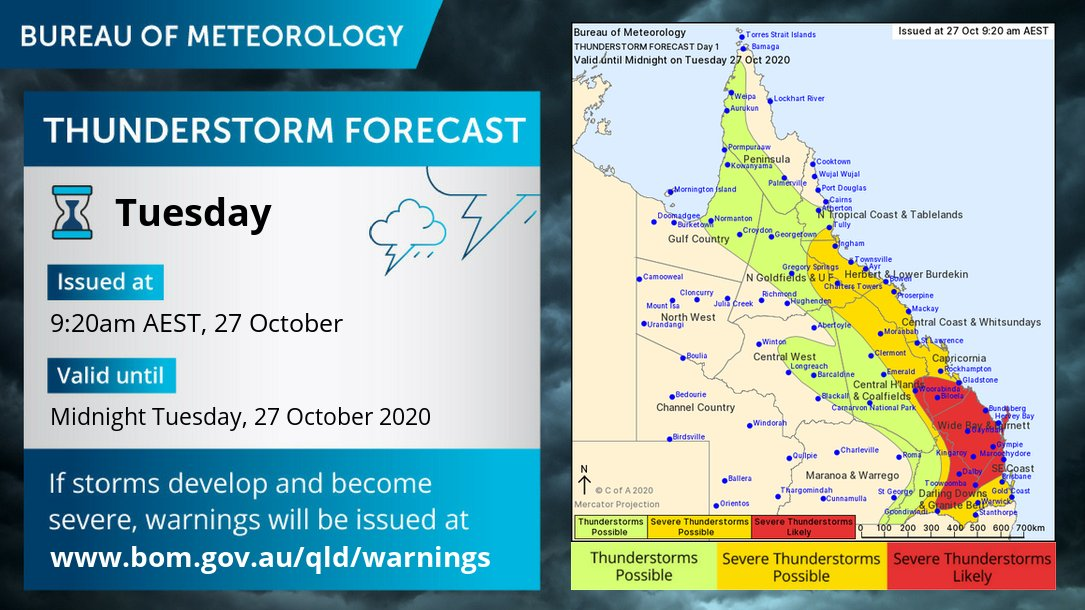 ⛈️ Storm forecast ⛈️ Severe storms & isolated supercells possible in the east & likely btwn #Gladstone & #Toowoomba, incl. #SunshineCoast #WideBay. May produce destructive winds >125km/h, giant hail & heavy rain/flash flooding. Warnings for active storms: https://t.co/iSzCOXOTCu https://t.co/WFHvI0ZF1B
