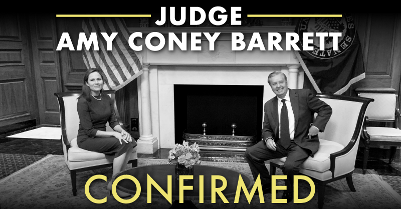 We did it! Justice Barrett is now a reality.    A great day for conservative women and the American people!