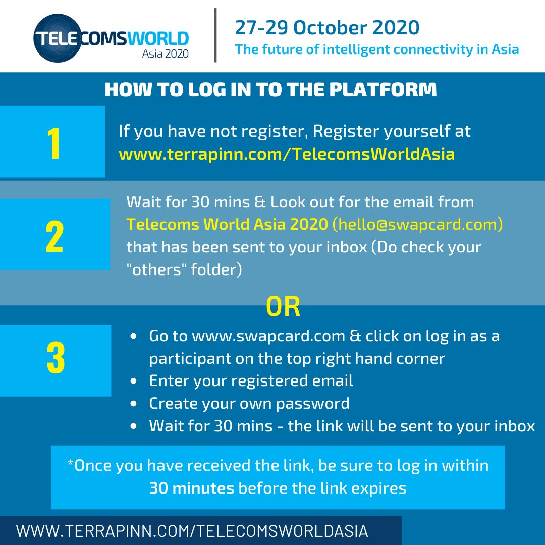 Have you logged on to the #TelecomsWorldAsia platform yet? You can do so in just 3 simple steps!    Log on now at https://t.co/T3XLSknfhm.   #Telecoms #AI #5G #IntelligentConnectivity #NetworkVirtualization #IoT #SDN #NFV #Telco #BlockChain #WholesaleCarriers #CarriersWorldAsia https://t.co/2W4nCmVOpb