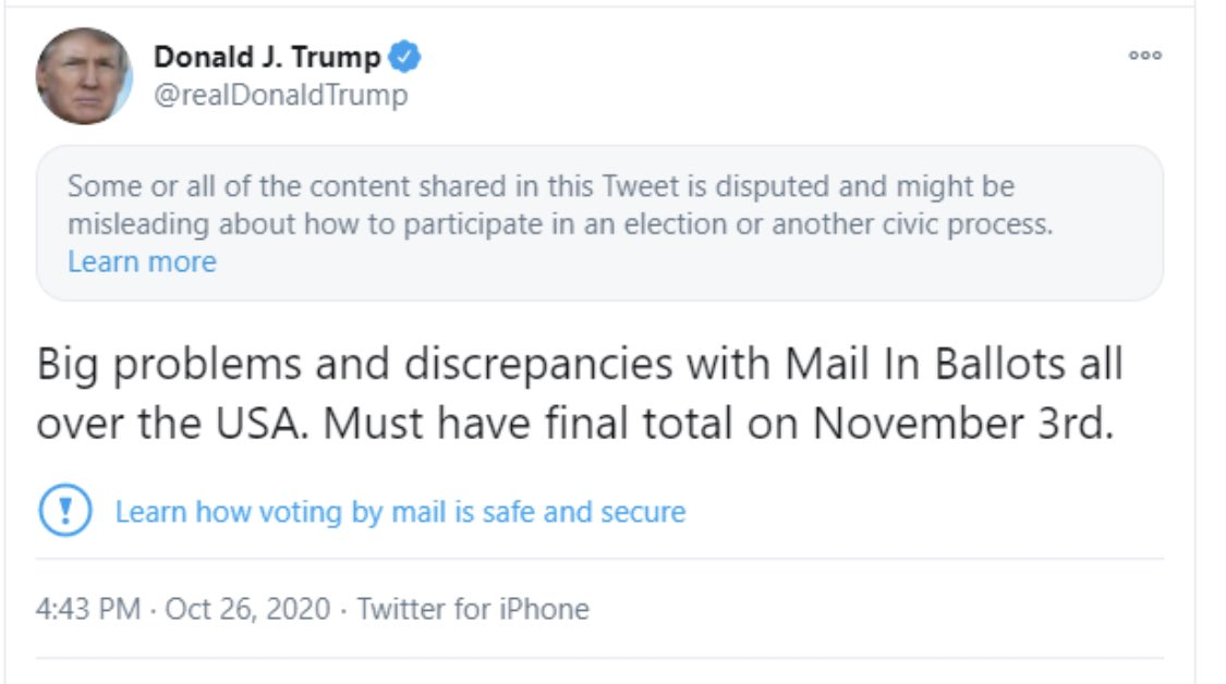 Twitter is suppressing this tweet by the President. Here's a screen grab. https://t.co/ux43EiqZGW