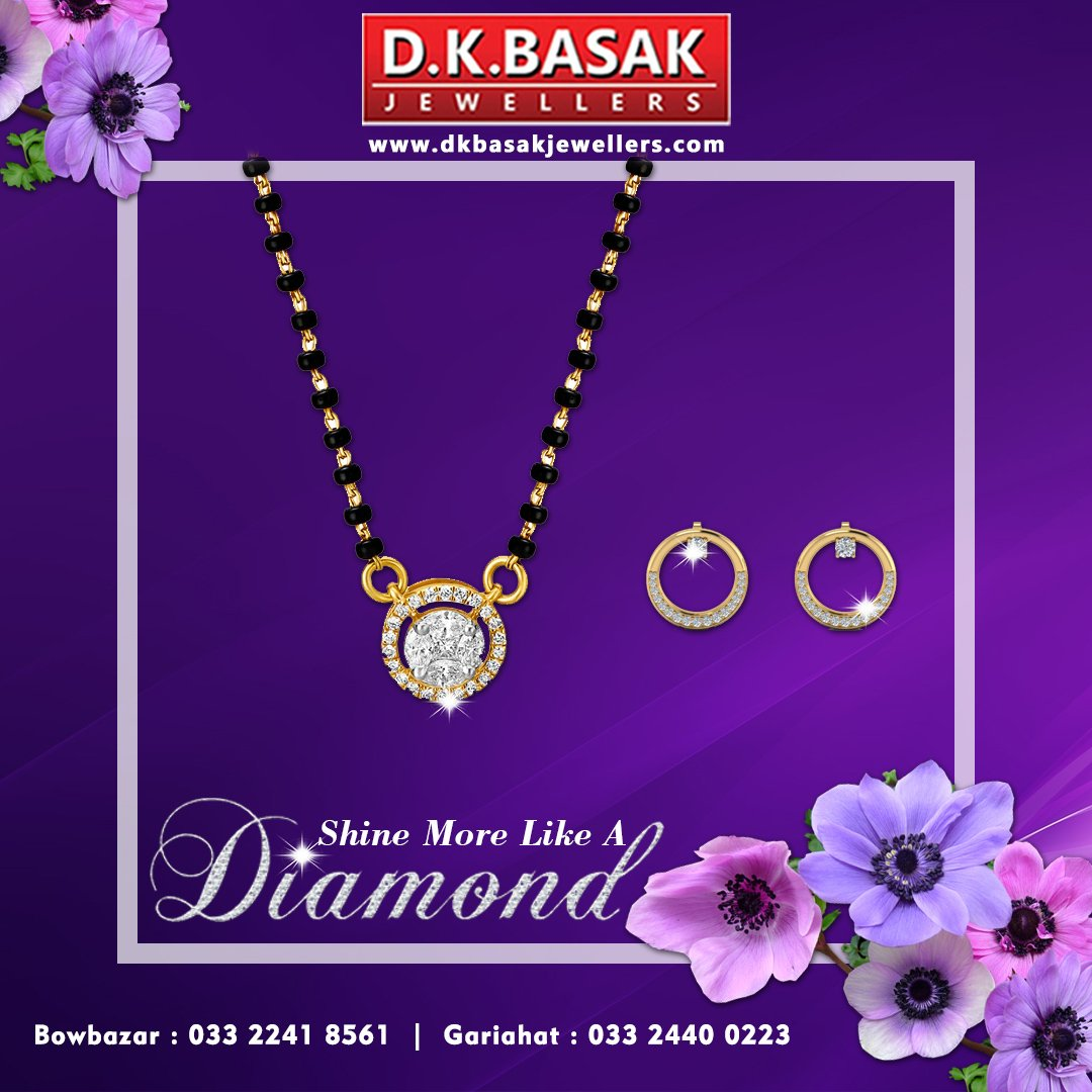 Gift this #beautiful set of diamond-studded #mangalsutra and #earrings from the house of #DKBasakJewellers to your #wife. You will surely get the return #gift of her beautiful smile that is much brighter than the #shine of a #diamond.  👉 https://t.co/7Lzf6a9DCS https://t.co/qoS2Iavzbf