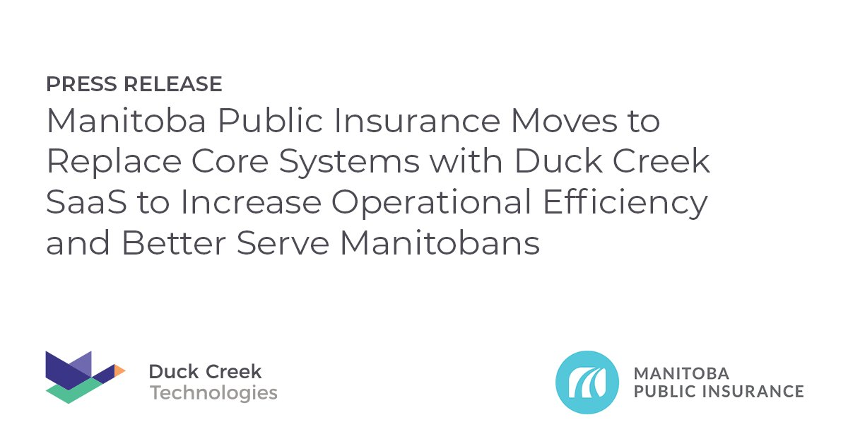 #Manitoba #Public #Insurance has selected @DuckCreekTech to power its #Digital #Transformation. Read why the #Insurer chose Duck Creek to better serve Manitobans: https://t.co/AsNGcAfspD   #ManitobaPublicInsurance #InsurTech #Policy #Billing #Claims #Insights #SaaS #Cloud #DCT https://t.co/ubL7NyNK0C