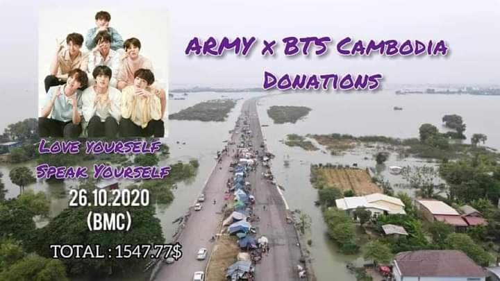 """#CamARMYs_Foundation  Cambodia army raises $1547.77 in one week To help people affected  by floods  in Teuk Chor village, Teuk Chor commune, Preah Net Preah district.Banteay Meanchey Province All these funds have helped 220 families there under the name of """"ARMY X BTS CAMBODIA"""" https://t.co/Lnjc1VaMJR"""