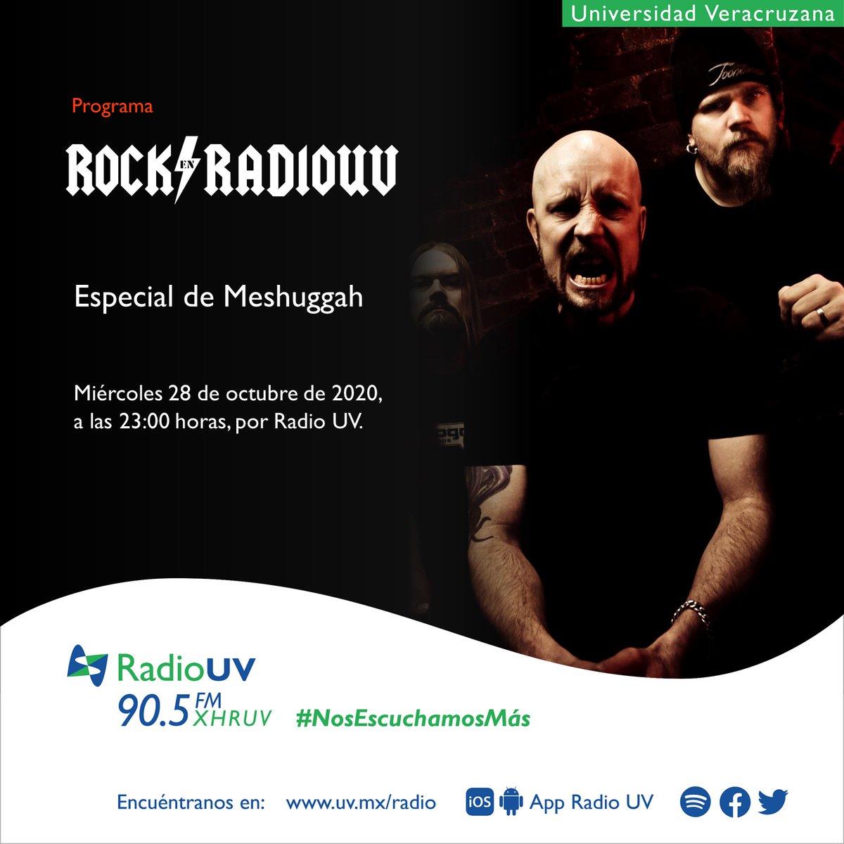 Prepara tus oídos para el especial de #Meshuggah en #RockEnRadioUV 🎸. ¡No te pierdas la transmisión el próximo miércoles 28 de octubre a las 23:00 h!  Escucha el 90.5 FM o en línea: https://t.co/WfczY0S4Qx https://t.co/tlsMb1CXDT