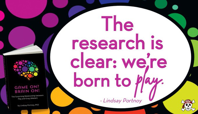 """""""The research is clear: we're born to PLAY."""" - @lportnoy in #GameOnBrainOn Thanks to all who joined the conversation tonight! We appreciate all of your contributions. Learn more about Lindsay's awesome book here: https://t.co/vPFTikeVMB #tlap #dbcincbooks https://t.co/DnbWmfsIxR"""
