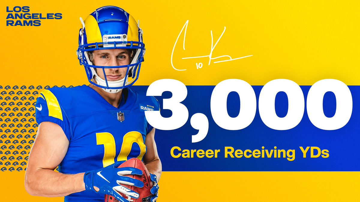 3️⃣, 0️⃣0️⃣0️⃣ receiving yards.  @CooperKupp becomes the third fastest to do so in franchise history, behind @IsaacBruce80 + @BigGame81 👏 https://t.co/7eeHKhR8oW