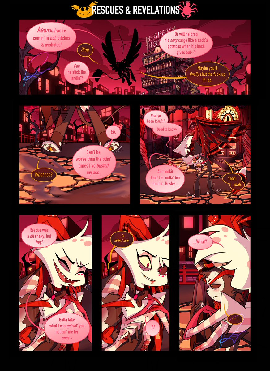 Rescues & Revelations (AngelHusk Comic) PART 2 // Pg1 . . . (everythings sketched out, & the first page of part two is done! though, i DID cheat w/ the hotel. just ripped em from official art. 😅) #HazbinHotelFanart #HazbinHotelAngelDust #HazbinHotelHusk #AngelHusk https://t.co/2008YNNRUF