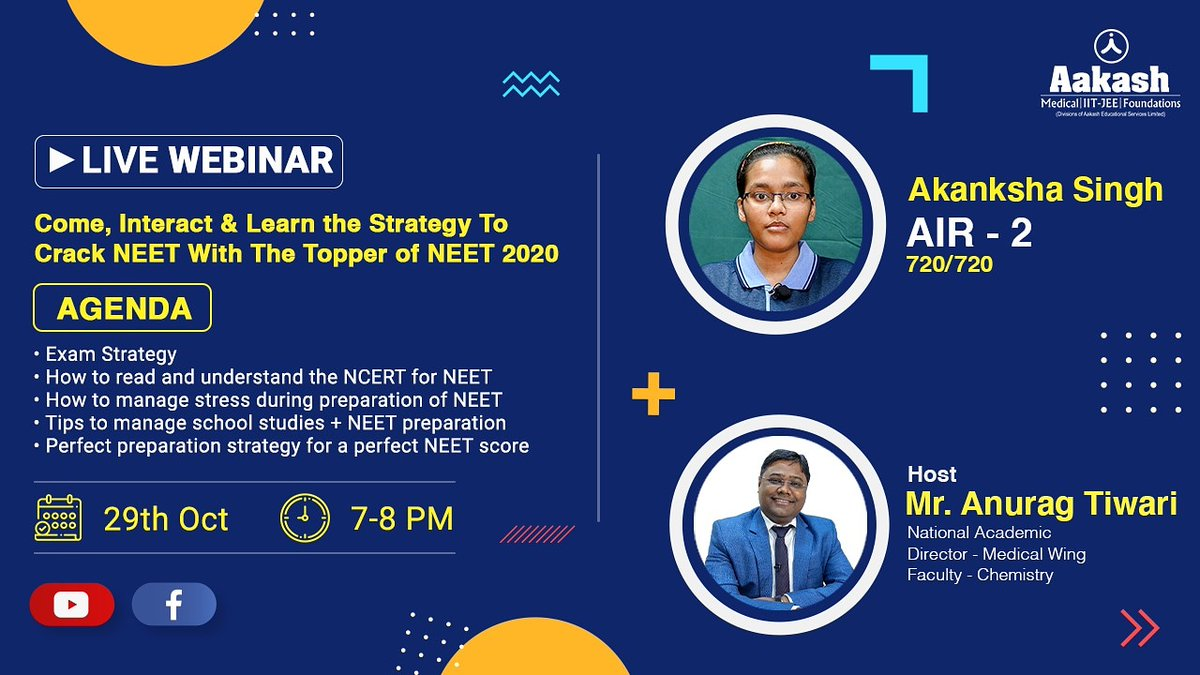 Interact and learn with NEET 2020 topper Akanksha Singh on the best strategy to crack NEET examination. Join the live webinar on 29th Oct at 7 PM. Link to join: https://t.co/POeACkN12L https://t.co/ItG92NYMDe