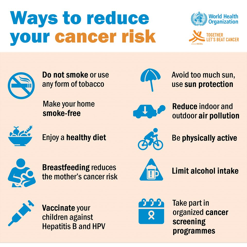 Here are ways to reduce your #cancer risk. #BeatNCDs https://t.co/BIDe1Sxazv