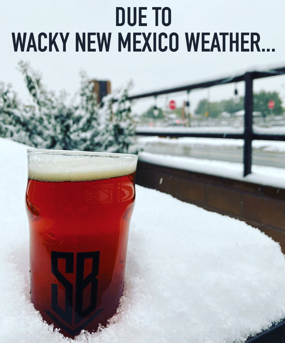 we'll be opening an hour later at NOON Tuesday. ⁠⠀ ⁠⠀ Check back for updates and stay safe out there!⁠⠀ ⁠ #BuiltToBrew #losranchosbrew #NMcraftbeer #newmexicobeer #NMBeerLove #nmbeer #supportlocal  #supportyourlocalbrewer  #losranchos #albuquerque #burque #newmexico https://t.co/KllC3bEiYE
