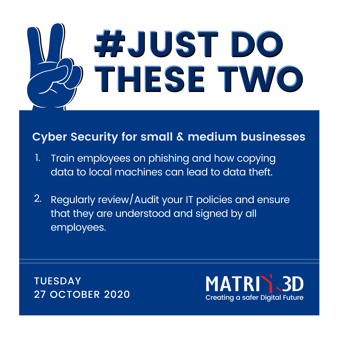 #JustDoTheseTwo Cyber Security tips for small and medium businesses  #Matrix3D #JDTT #cybersecurity #datasecurity #dataprivacy #dataprotection #infosec #informationsecurity #cloudsecurity https://t.co/Ds2oD7kuZ9