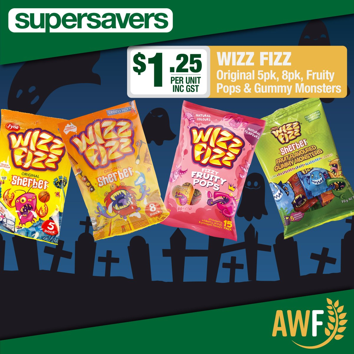 Grab these Wizz Fizz bags in this months Spooky Savers!  View it online: https://t.co/4JQiBKD4hX ------------- 📞 Call us: (08) 9041 1424 📧 Email: sales@allwaysfoods.com.au #supersavers #AWF #AllwaysFoods #warehouse #merredin #wizzfizz #sherbet https://t.co/OQnoyOTM5P https://t.co/d7dwd5Ttqk
