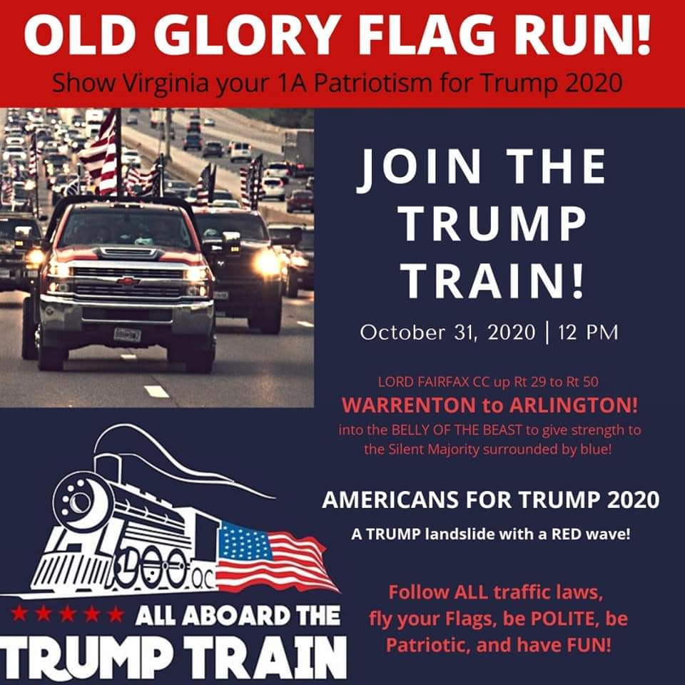 #Arlington and #NoVA beware of a Trump caravan driving through your town on October 31st. These caravans often brandish firearms and intimidate POC and other minorities. #DCProtests #FuckTrump #BlackLivesMatter https://t.co/iLYv6FZksN