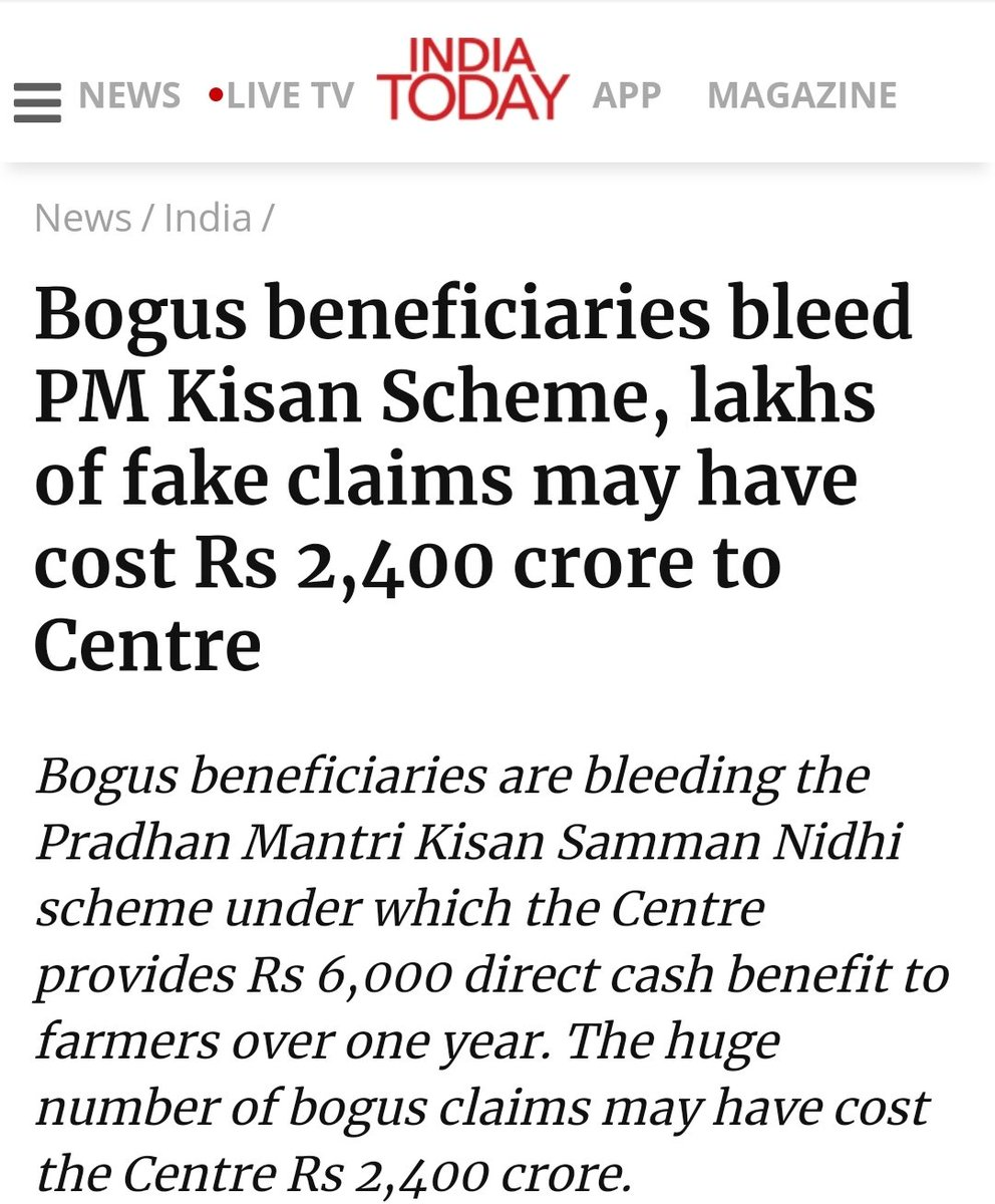 """For the people, By the people & To the people .. hope #BJP themselves were not the """"bogus beneficiary"""". #ModiHaiToMumkinHai Bogus beneficiaries bleed #PMKisanScheme, lakhs of fake claims may have cost Rs 2,400 crore to Centre. https://t.co/OGLenqOvmh https://t.co/AI7Nc8okbt"""