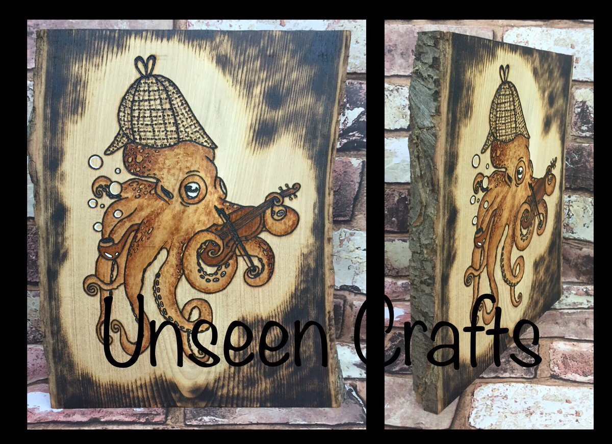 My latest pieces. All original Unseen designs, hand burned onto the wood, hand painted colours. All but the Sherloctopus are available, details are on my Facebook page. #art #craft #handmade #pyrography #Sherlock #jellyfish #orcas #ocean #sea #nature #wildlife #rainbow #wood https://t.co/n9td6cth0H