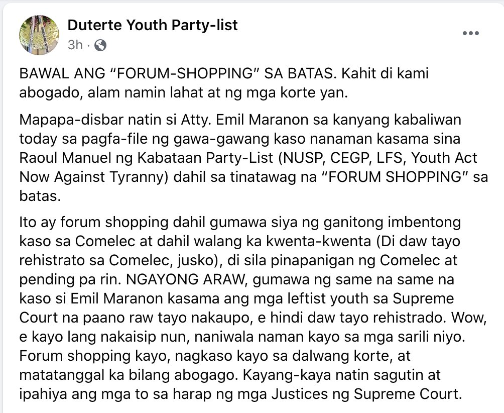 It came to my attention that DUTERTE Youth and minions have been working very hard to have me cited for contempt and for my disbarment. Ako, I think this way, if scums try so hard to shut me up, then I must be doing something right. https://t.co/33HhLn0Aye