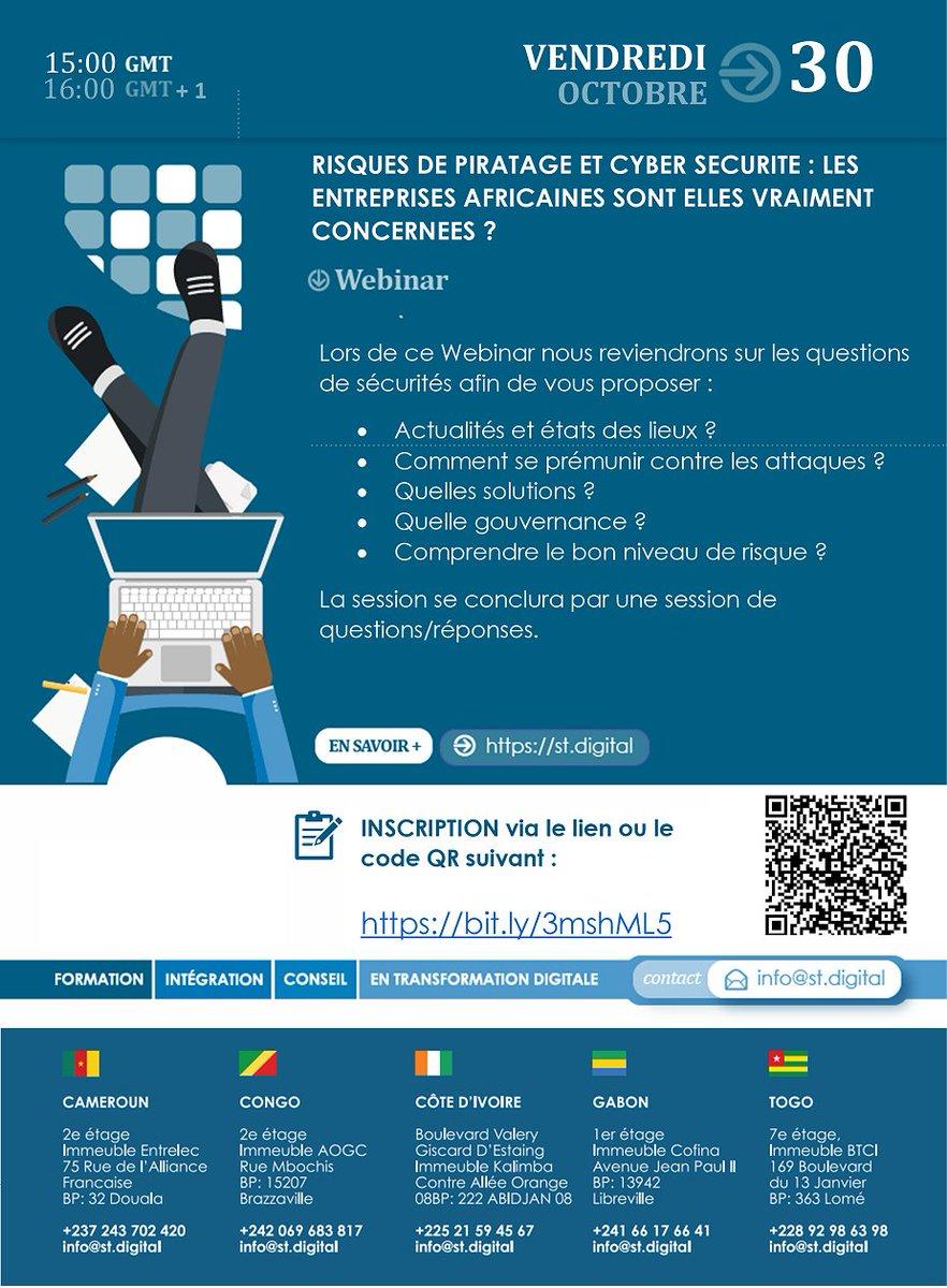 Webinar Vendredi: Risques de piratage et cybersécurité : les Entreprises Africaines sont elles vraiment concernées? Lien d'inscription: https://t.co/ZjA1XBhChx https://t.co/DsvlTdVFeg