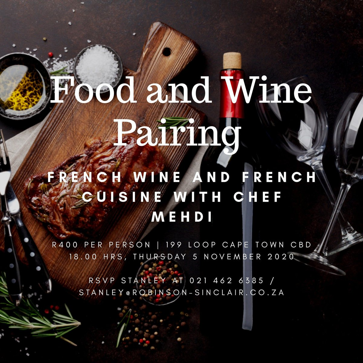 Indulge in our French Food and Wine Pairing with Chef Mehdi  R400 per person 18.00 HRS, THURSDAY 5 NOVEMBER 2020  RSVP STANLEY AT 021 462 6385 / 082 301 4968 STANLEY@ROBINSON-SINCLAIR.CO.ZA  The Wine Shop Shop 2, 199 Loop Street Cape Town CBD  #wine #foodandwine #food #foodie https://t.co/EQHRASoNod