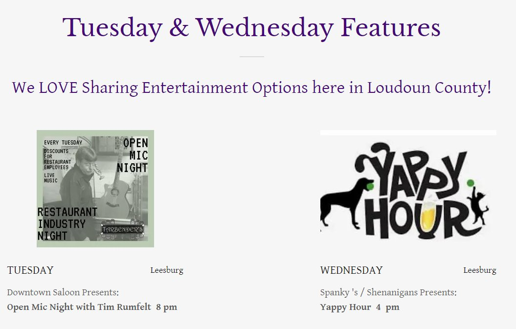 We LOVE Sharing What To Do here in #LoudounCounty on our website. Tuesday OPEN MIC w Tim Rumfelt at Downtown Saloon Wednesday Spanky's Yappy Hour LIVE at @SpankysPub   Visit Our Calendar of Entertainment for MORE Entertainment Options! https://t.co/DOiVndpnpt  #OpenMic #YappyHour https://t.co/UxwTn5R195