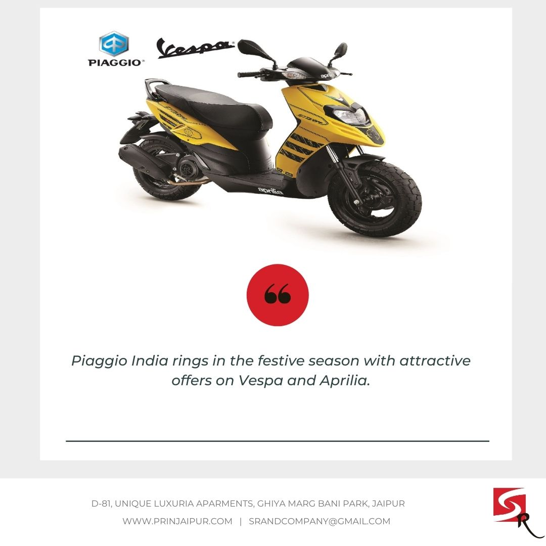 Piaggio India rings in the festive season with attractive offers on Vespa and Aprilia #businessnews #businessideas #India #VocalForLocal #Jaipur #NarendraModi #srpublicrelations #Businesssource #advertising #MakeInIndia #Businessinsider #Indian #publicrelations https://t.co/ywsMOLh9Bf