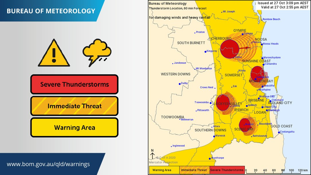 ⚠️Severe Thunderstorm Warning - #SEQld updated ⚠️ Severe storms have reached the #SunshineCoast, amongs other areas. These storms may produce damaging winds & heavy rain which may lead to flash flooding. Another update to follow shortly.  Warnings: https://t.co/cUQJyjvHst https://t.co/Duj6H0kHZL