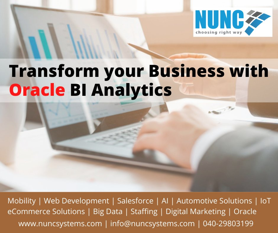 Transform your #Business with #Oracle BI #Analytics by providing important Data #Insights across all major Business functions, #Platforms, and Channels. Write to us to know more: info@nuncsystems.com or visit: https://t.co/VsigCKK10d #BIAnalytics #ERPsoftware #ERP #Nuncsystems https://t.co/ol4Rb9qXcV