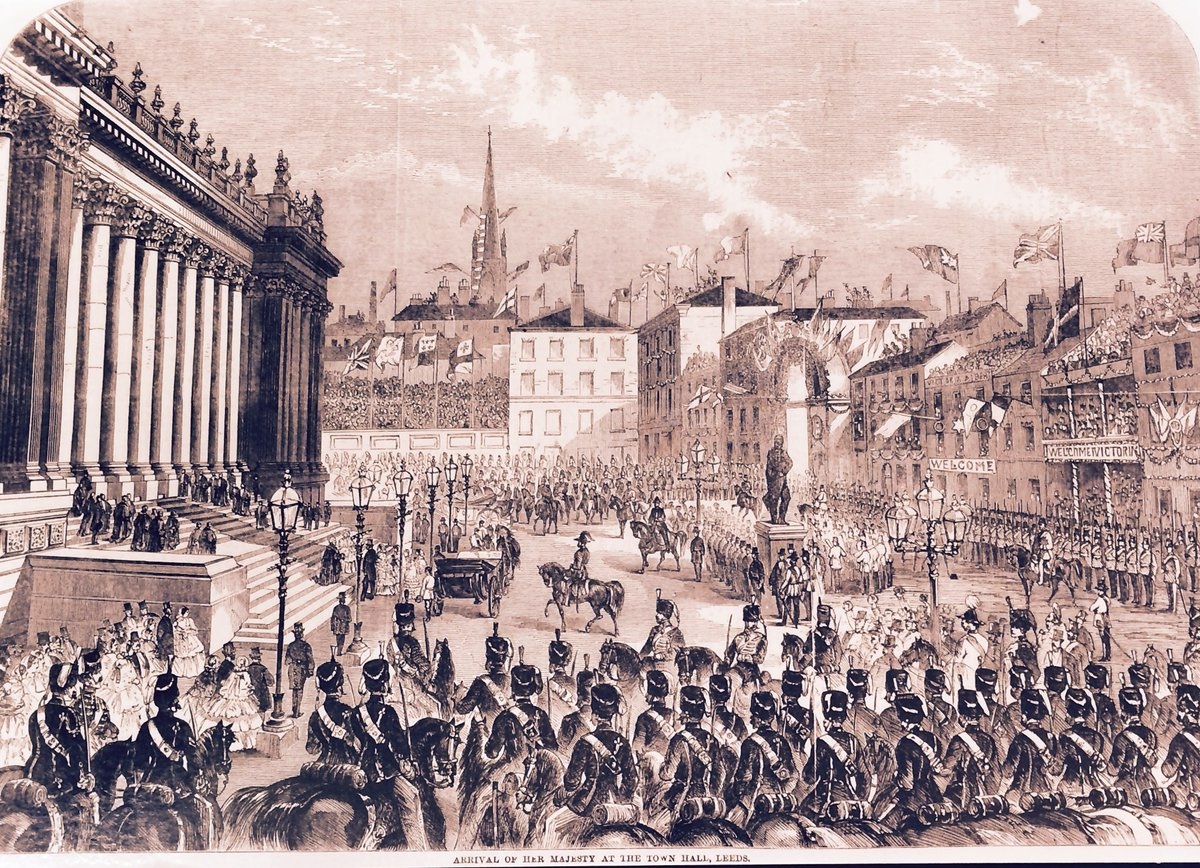 The 'Illustrated London News' covered Queen Victoria's visit to #Leeds in September 1858 to open the new Town Hall designed by Cuthbert Brodrick, The crowds throughout her 2 day stay were vast with the Leeds Mercury commenting #Victorian #Yorkshire https://t.co/BFQn88HzZg