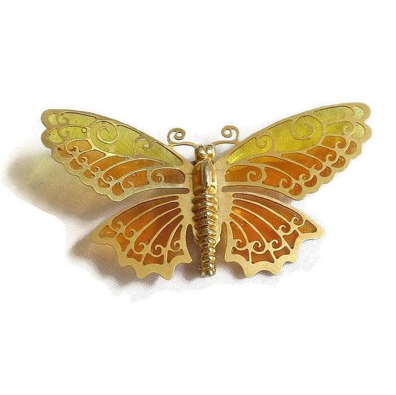 Plique a Jour Orange and Yellow Enamel Butterfly Brooch #Vintage signed Avon #fashion #brooches #necklaces #sets #bracelets #earrings #jewelry https://t.co/2xvraj7rve https://t.co/xiKwCbVpx2