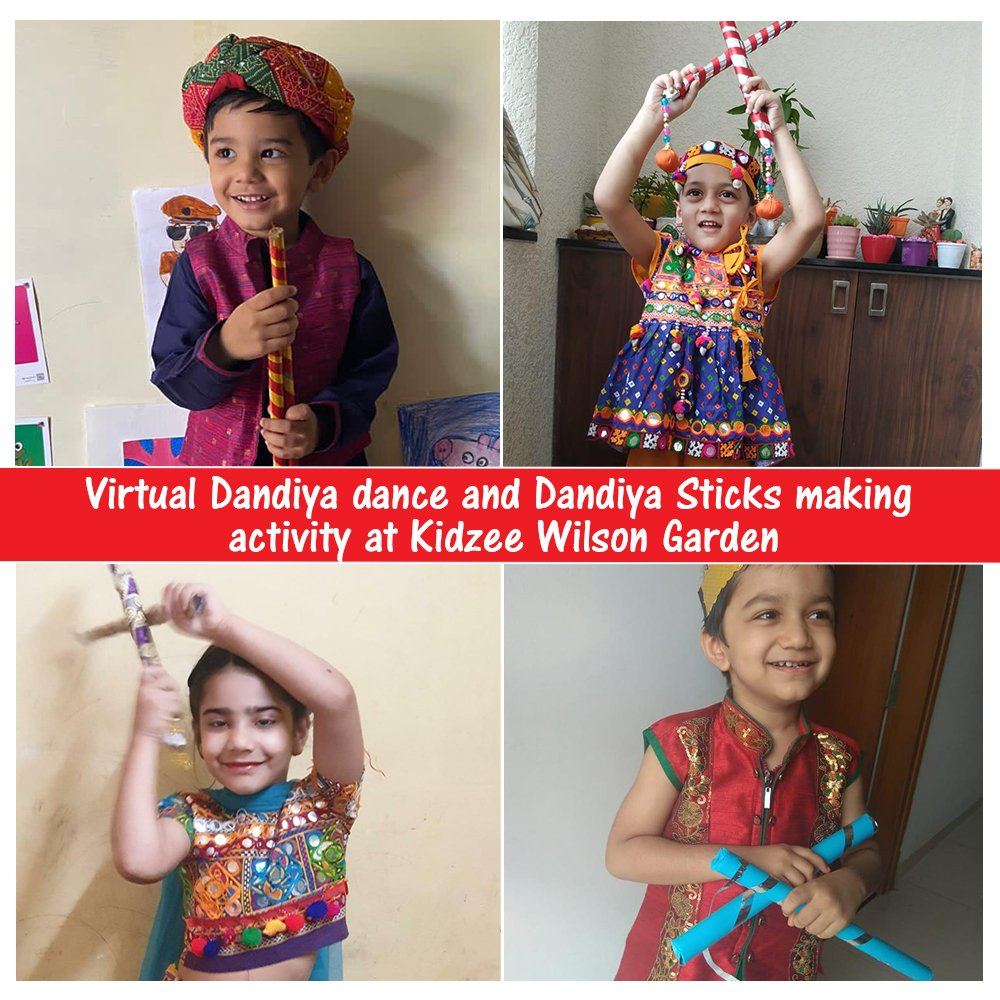The students of Kidzee Wilson Garden celebrated #Navratri #festival at home by dressing up in colourful Indian attire & dancing to the beats of traditional music! They also learned how to make #Dandiya sticks with coloured sheets & decorations!  #Kidzee #KidzeeStudents #Festival https://t.co/lsuUeRBTCL