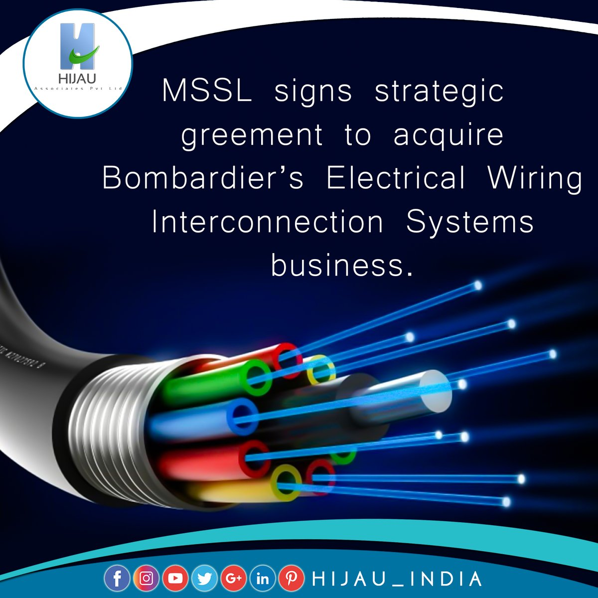 MSSL signs strategic agreement to acquire Bombardier's Electrical Wiring Interconnection Systems business  #hijauindia #businessconsultant #businessideas #makeinindia #businessopportunities #newbusiness #india #businessnews #businessnewsupdates #startups #fdi #investindia https://t.co/2ekPzfH1UE