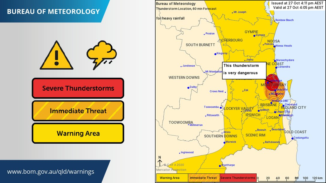 ⚠️#Severe Thunderstorm Warning - #SEQld updated ⚠️ A severe thunderstorm near #Caboolture is producing very heavy rain which may lead to flash flooding. 80mm already recorded at Caboolture. See warnings:  https://t.co/yUSREFtOVl https://t.co/zHzfckQrVJ